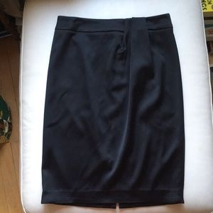 Talbots Silky Black Ruched Detail Pencil Skirt